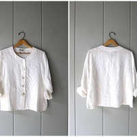 Vintage FLAX Brand Shirt Jacket 90s White Linen Blouse Button Up Linen Shirt with Pocket Modern Minimal Top Jacket Top Women XS Small