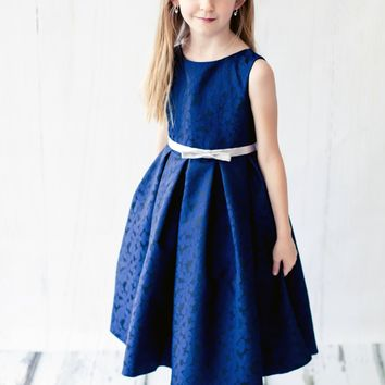 Navy Blue Floral Jacquard Print Sleeveless Dress w Silver Ribbon Sash (Girls Sizes 2T - 12)