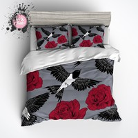 Red Rose and Swallow Duvet Bedding Sets