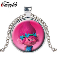 New Style of Fairy Fancy Cute Silver Trolls Crystal Necklace Jewelry Body Long Chain Jewelry Cartoon For Child gift