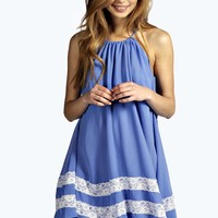 Anna Crepe Swing Dress With Lace Trim Hem