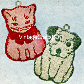 1950s Vintage Crochet Pattern-Cat and Dog Pot Holders–Instant Download-Pot Holder-Potholders-cat crochet pattern-dog crochet pattern