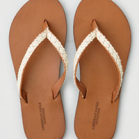 AEO Crochet Overlay Leather Flip Flop, Cognac