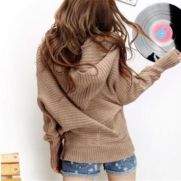LMFUG3 Women Girls lovely Winter Pure Color Hoodie Sweater Coat V-neck Pullover = 1920398148