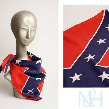 Vintage 1990s Red Scarf with Confederate Flag Print