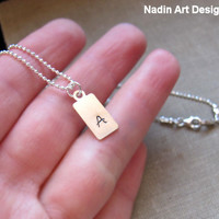 Men's Initial Necklace. Letter Tag Necklace. Personalized Initial for Men