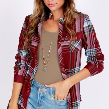 Plaid Pocket Top Burgundy