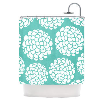 """Pom Graphic Design """"Hydrangea's Blossoms"""" Teal Circles Shower Curtain"""