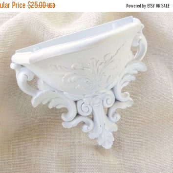 On Sale Vintage French Rococo Shabby Chic Homco Wall Pocket, Hanging Planter, Sconce Hand Painted