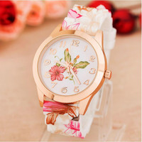 Free Shipping 2015 High Quality Watch Women Quartz Watches Flower Silicone Classic Wristwatches Relogio Feminino Hot Sale