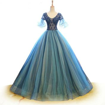 Short Sleeve Evening Dress Blue Tulle Formal Party Dress Lace Crystal Beaded Prom Dress