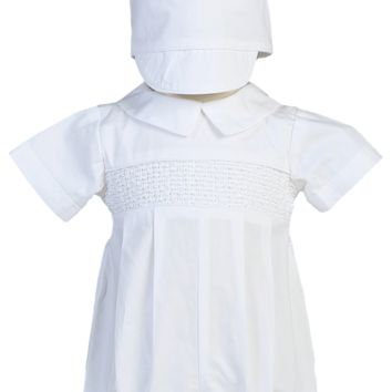 Smocked Romper with Brimmed Hat Cotton Christening Outfit (Baby Boys Newborn - 24 months)