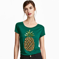 2017 New Women Summer T Shirt Pineapple Print Fashion T-shirts Green Sequined Tops Female Short Sleeve t shirts Plus Size 62120