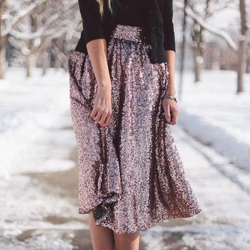 Sequin High Waist Flared Fashion Middle Skirt