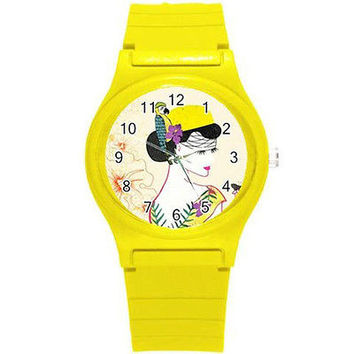 Vintage Style Lady in Yellow Hat on a Yellow Plastic Watch...New
