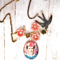 Frida Flowers and  Cameo Necklace