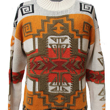 Vintage Tribal Sweater in Sunburst Colors, Size Small