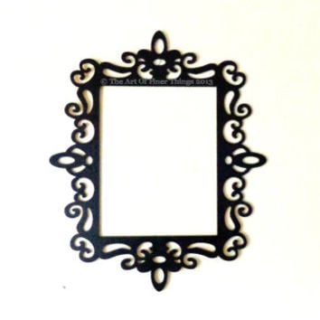 Black Open Back Ornate Frames 8.5x11 fits 5x7 gallery wall laser cut wood frames - black picture frames- black photo frames