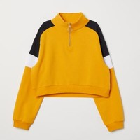 Stand-up Collar Sweatshirt - Yellow/black - Ladies | H&M US