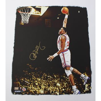 Patrick Ewing Signed Dunk 22x26 Canvas