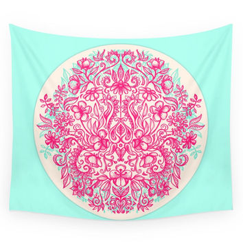 Society6 Spring Arrangement Floral Doodle In Pink Wall Tapestry