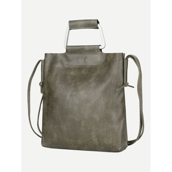 Faux Leather Tote Bag With Double Handle
