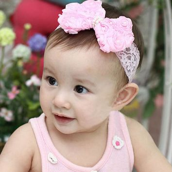 Tonsee 1PC Girls Kids Pearl Headband Bow Lace Headband Flower Headwear for girl hair accessories gift #5