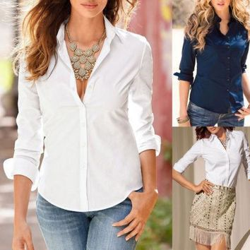 Women's Loose Long Sleeve Shirt Blouse