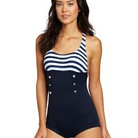 Seafolly Women's Seaview Boyleg Maillot One Piece Swimsuit