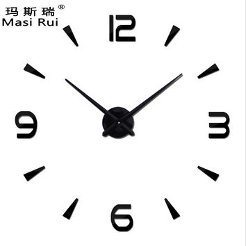 special large diy wall clock modern design Living Room quartz 3d big acrylic wall watch clocks mirror stickers home decor
