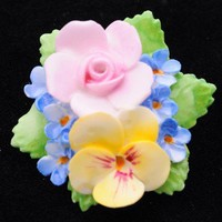 Denton English China Flower Pin | VintageAnelia - Jewelry on ArtFire