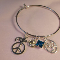 Serenity and Peace adjustable bracelet / Alex and Ani Inspired / Charm bangle / Gifts for her