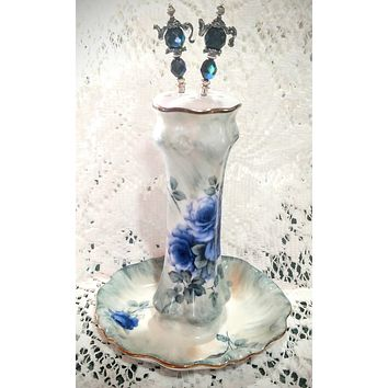 Hand Painted Blue Roses Porcelain Hat Pin Holder by artist Betty Platner - Limited Supply!