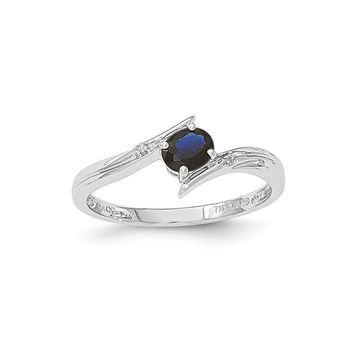 14k White Polished Diamond Blue Sapphire Ring