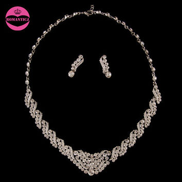LUOSU Gorgeous Fashion Rhinestone Necklace Sets Wedding Jewelry Wedding Accessories Including Necklace and Earring Set