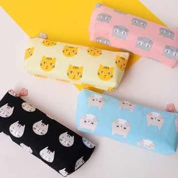 I52 Kawaii Cute Cat Ship Design Canvas Pencil Bag Pen Pouch Holder School Stationery Storage Kids Rewarding