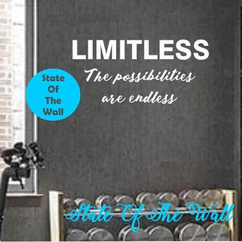 Limitless Wall Decal Vinyl Sticker Art Decor Bedroom Design Mural interior design gym workout excercise health motivation