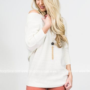 Vanilla Cream Off Shoulder Sweater