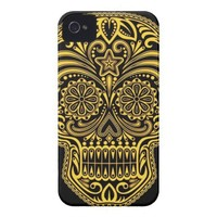 Decorative Yellow and Black Sugar Skull Iphone 4 Tough Case from Zazzle.com