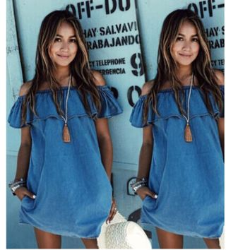 2017 Imitation cowboy word Summer Dress Women Off the Shoulder Mini Dress Summer Slash neck Women Loose Dress-0412
