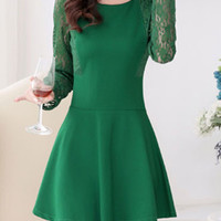 Spring/Autumn Lace Long Sleeve Stitching Mini A-line Dress