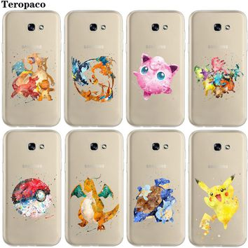 s Go Pikachus Charmander Watercolor Art Soft Clear Case Cover For Samsung Galaxy A3 A5 A7 2016 2017 A6 A8 Plus 2018Kawaii Pokemon go  AT_89_9
