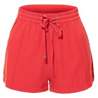 LE3NO Womens Elastic Waist Solid Short Pants with Pockets