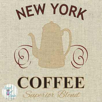 Printable Fabric Transfer Image, Digital Image, Paper Craft Supplies, Instant Art, Home Decor, Clipart - New York, American Coffee Shop