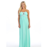 Mint Strapless Embellished Keyhole Gown 2015 Prom Dresses