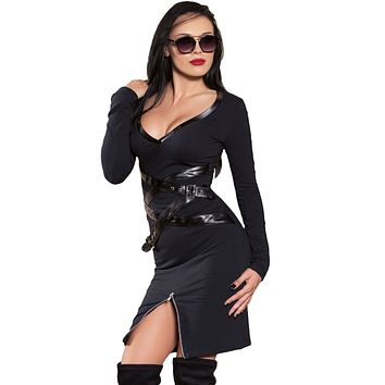 Chicloth Faux Leather Trim Zipped Slit Black Long Sleeve Dress