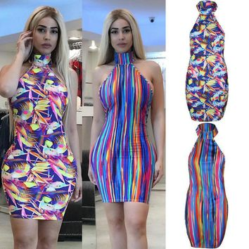 Newly Summer Sexy Fashion Women Dress Evening Party Dress Sleeveless Halter Rainbow Colorful Print Skinny High Waist Mini Dress