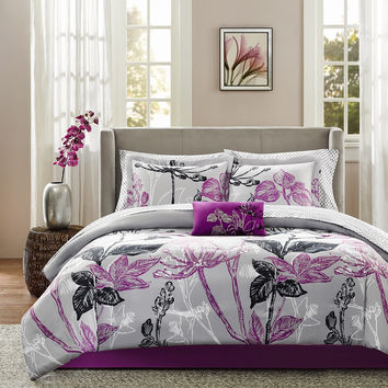 9 Piece Purple Complete Comforter Bedding Collection Bedroom Set