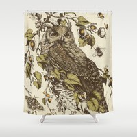 Great Horned Owl Shower Curtain by Teagan White
