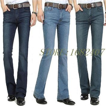 Free Shipping Men's Business Casual Jeans Male Mid Waist Elastic Slim Boot Cut Semi-flared Four Seasons Bell Bottom Jeans 26-38